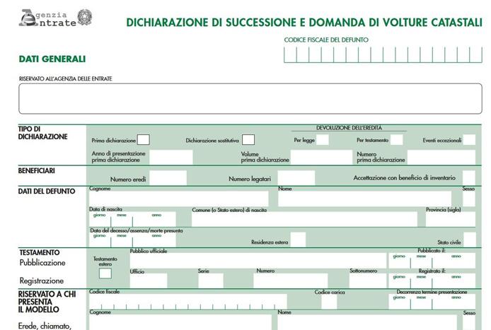 Dichiarazioni di successione presentazione all 39 agenzia - Successione catasto ...